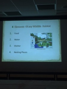 Four elements necessary for any wildlife habitat are food, water, shelter and nesting places.